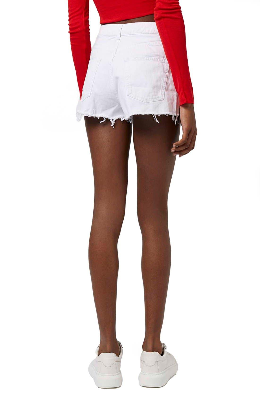 Alternate Image 3  - Topshop High Rise Ripped Denim Shorts
