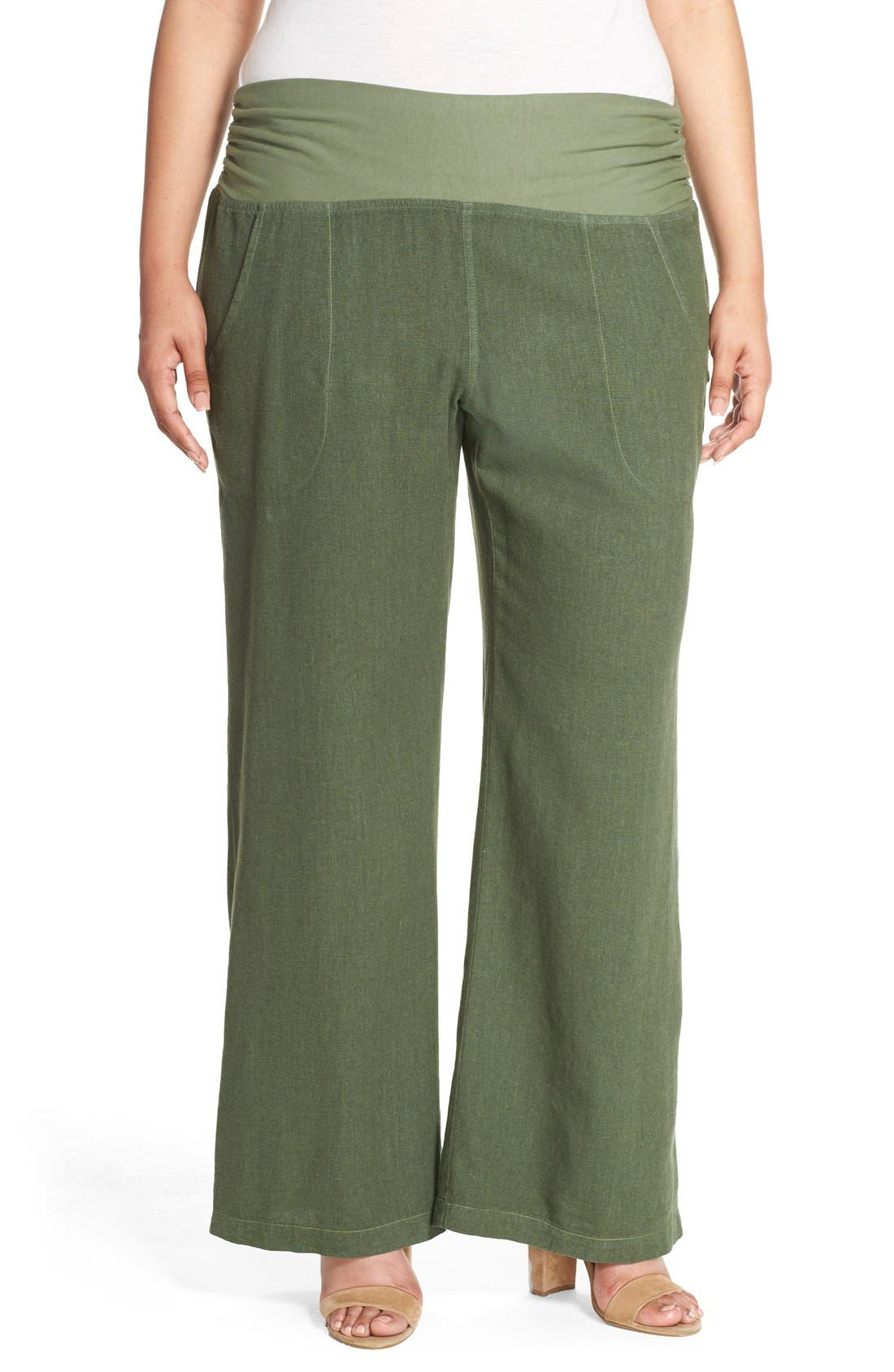 XCVI Wearables 'Redlands' Wide Leg Linen Pants (Plus Size)