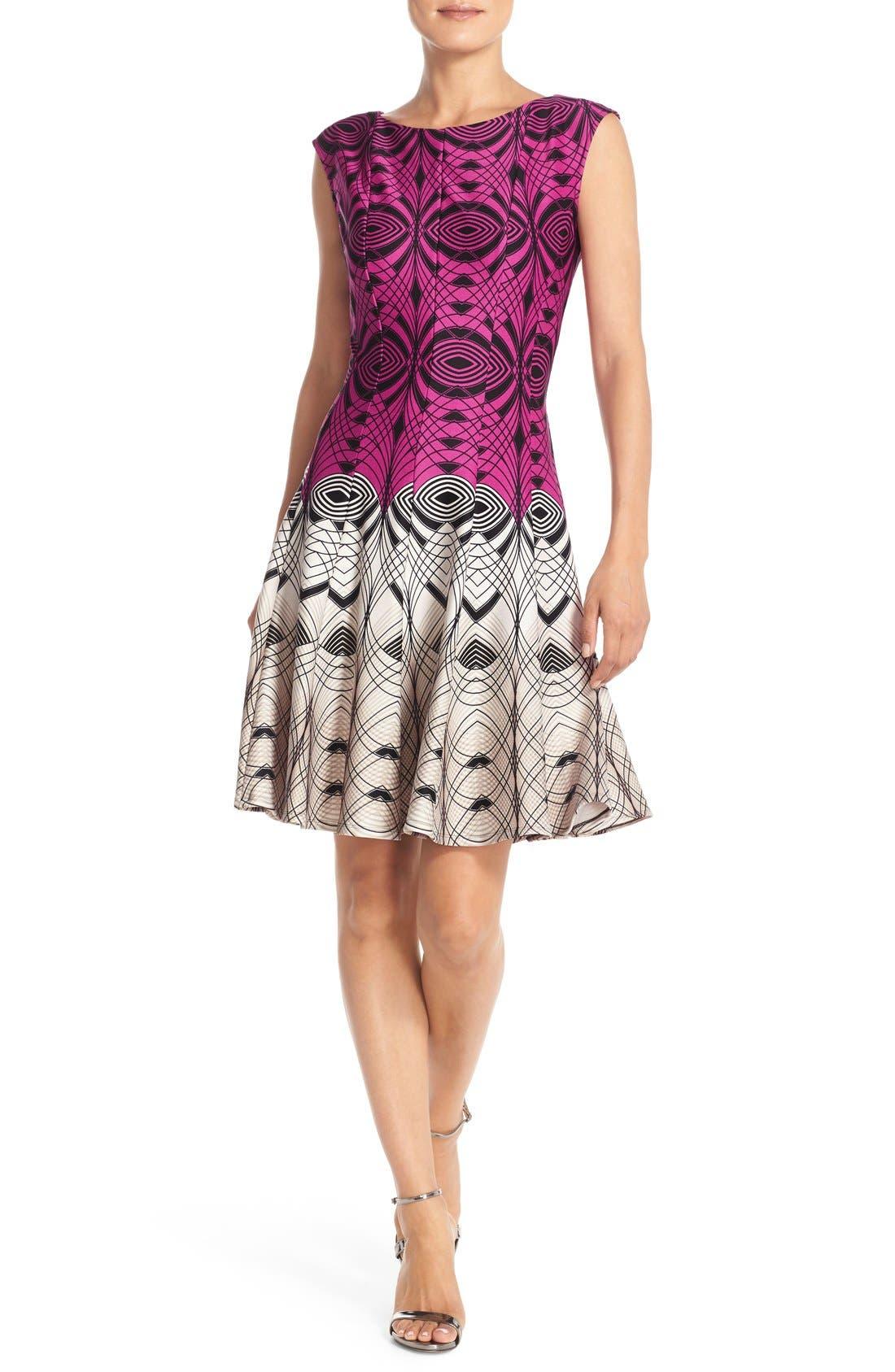 Alternate Image 4  - Gabby Skye Colorblock Print Scuba Fit & Flare Dress