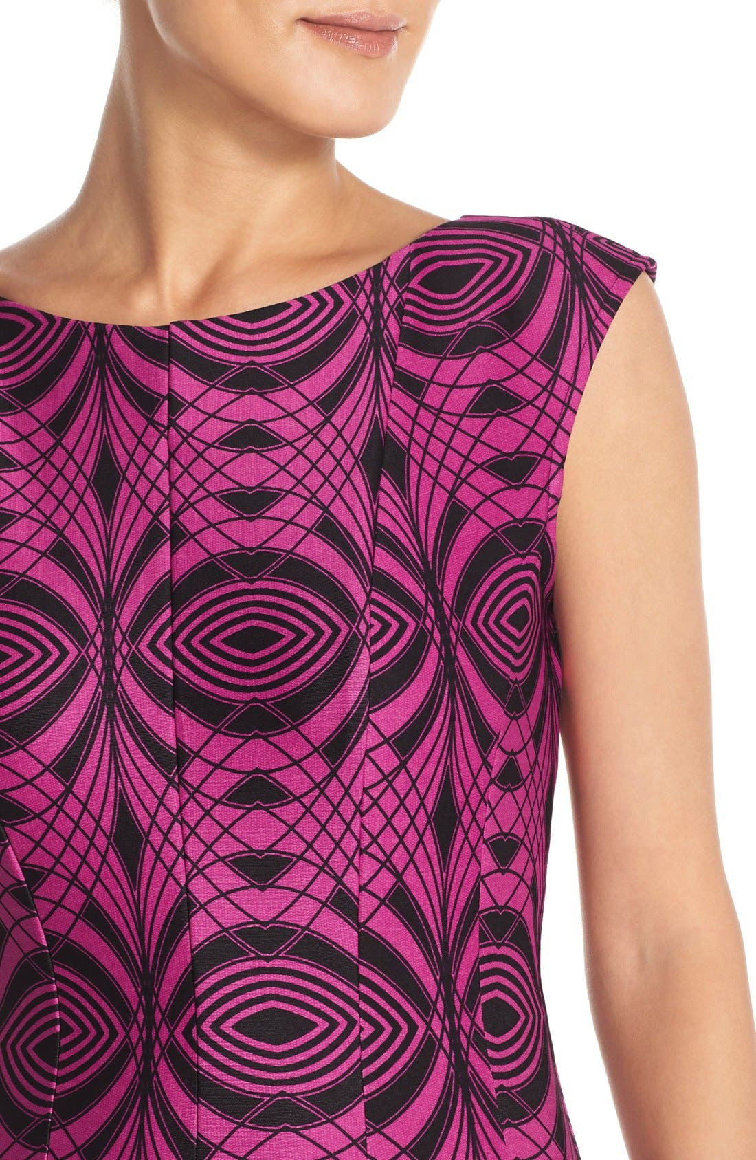 Alternate Image 5  - Gabby Skye Colorblock Print Scuba Fit & Flare Dress