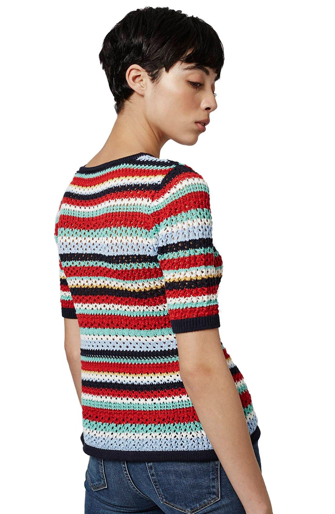 Alternate Image 3  - Topshop Multicolor Stripe Crochet Top