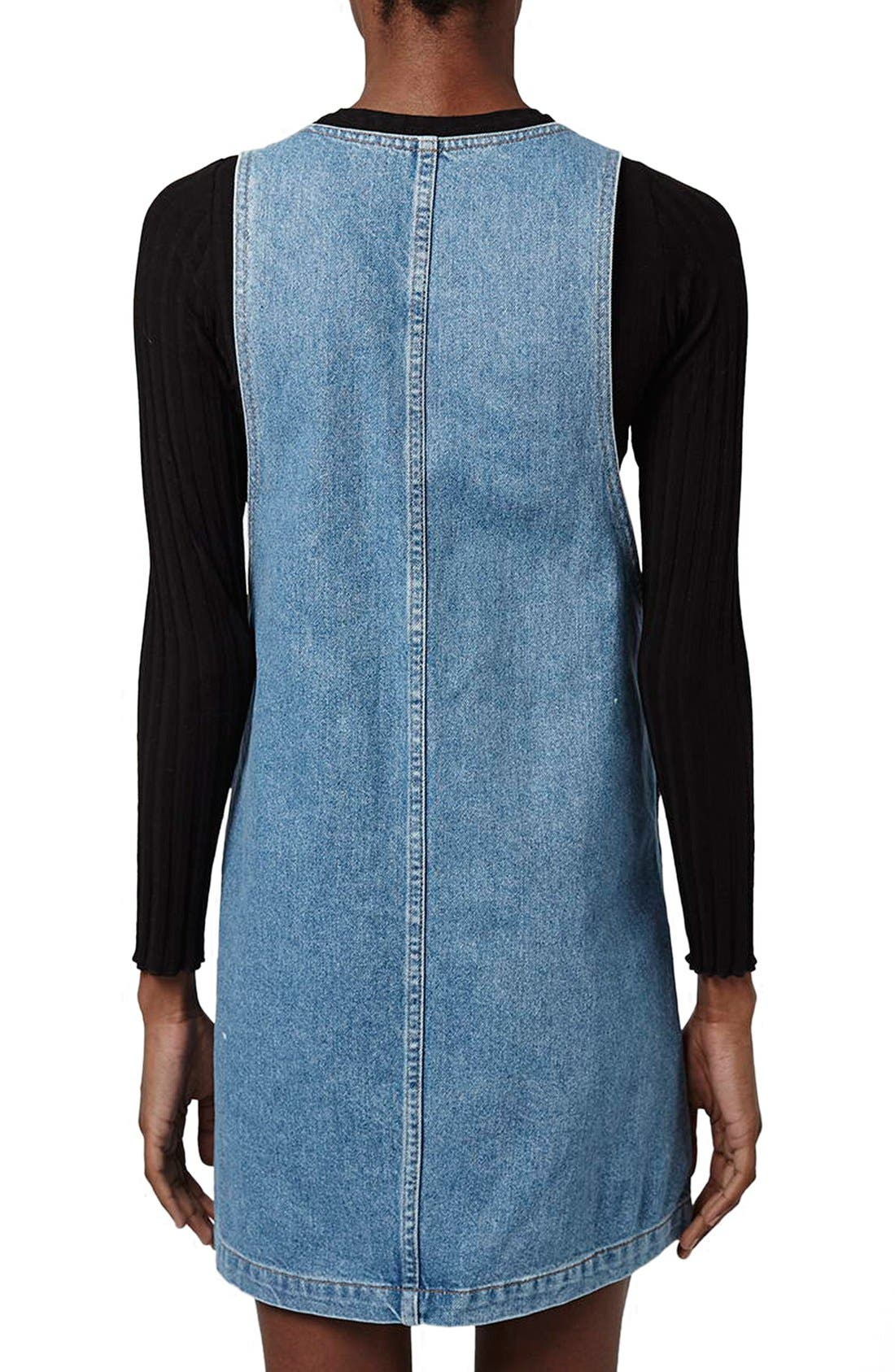 Alternate Image 3  - Topshop Patch Pocket Denim Pinafore Dress