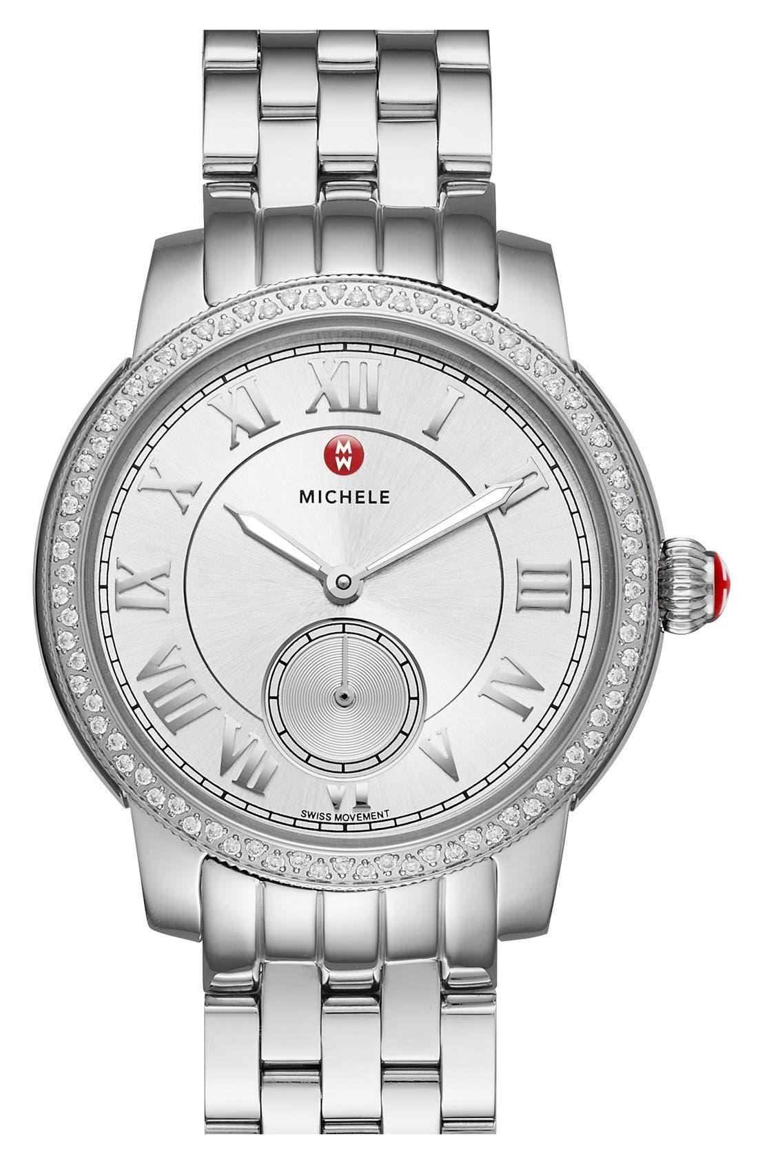 Alternate Image 1 Selected - MICHELE 'Harbor Diamond' Watch with Bracelet, 35mm