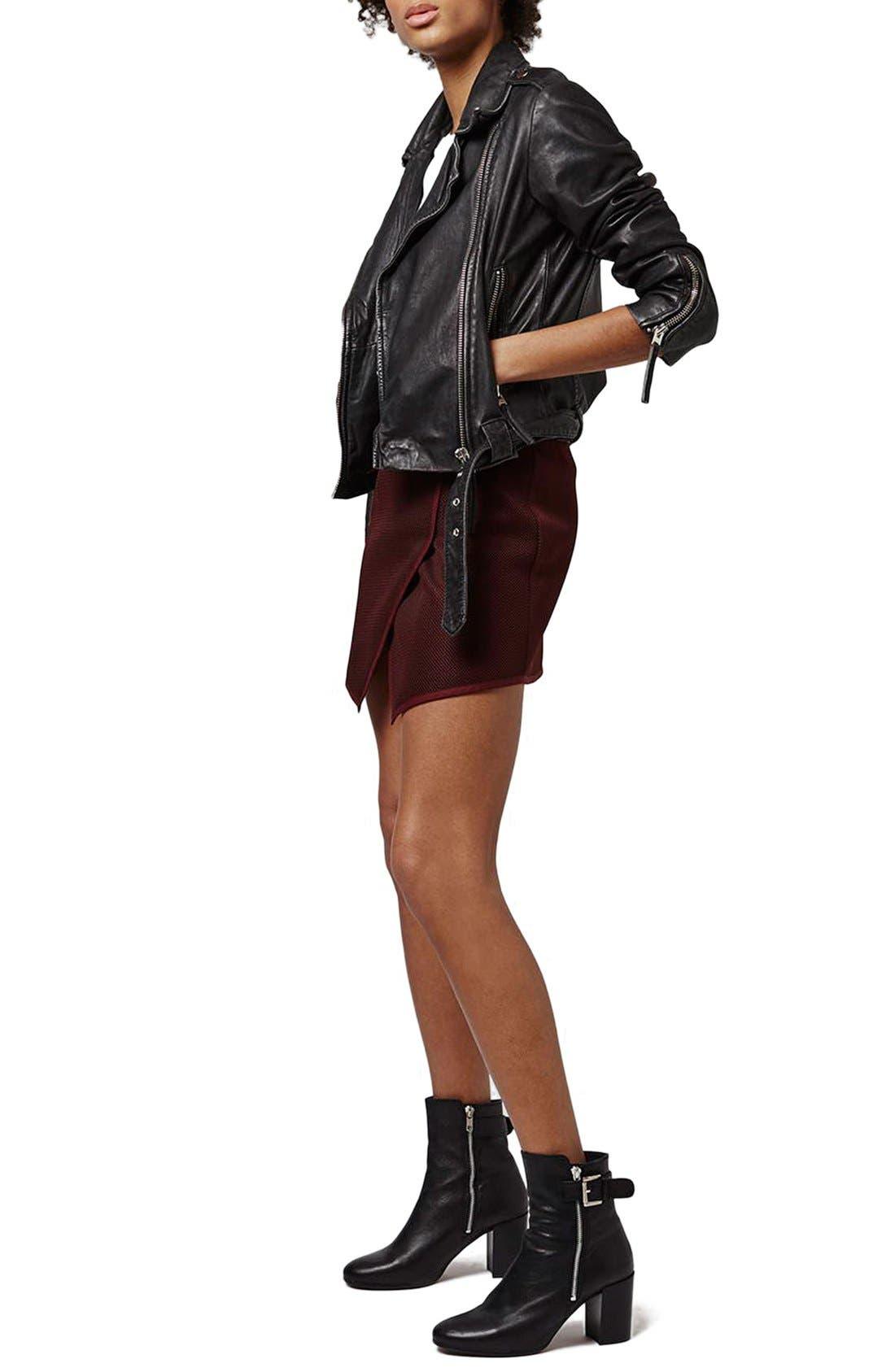 Alternate Image 2  - Topshop Angled Wrap Airtex Miniskirt