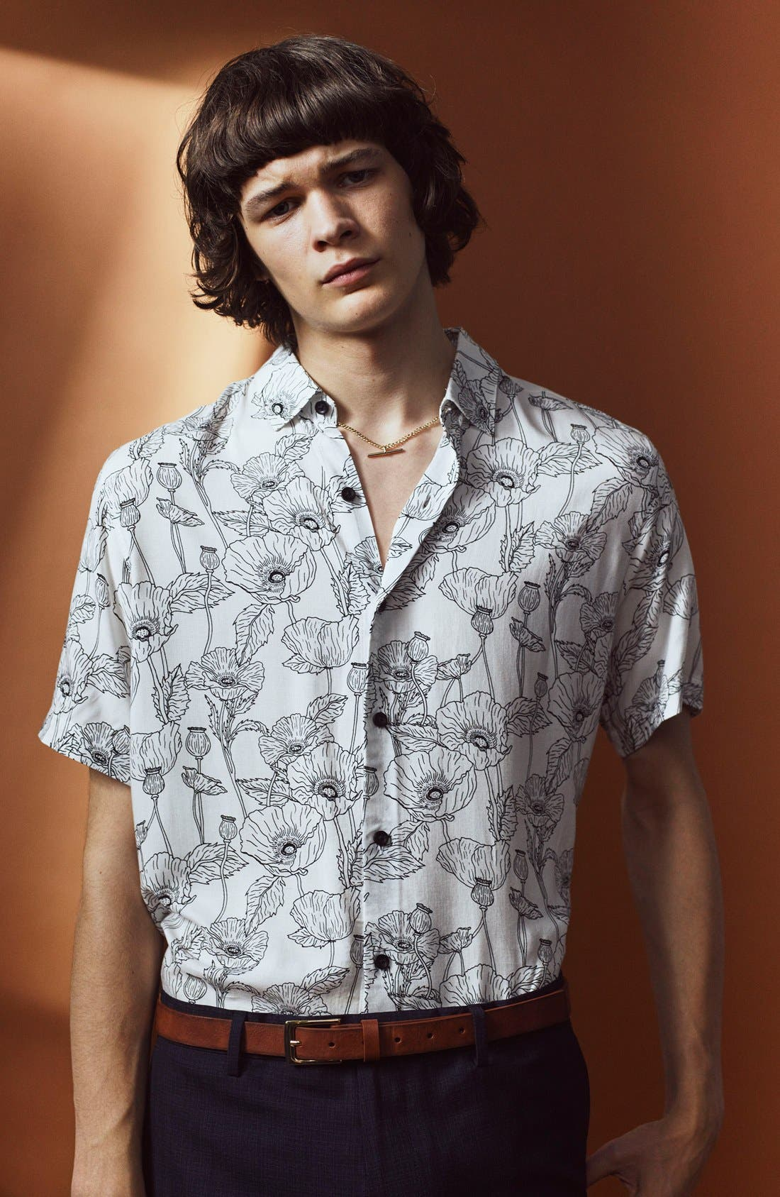 Alternate Image 6  - Topman Slim Fit Short Sleeve Poppy Print Shirt