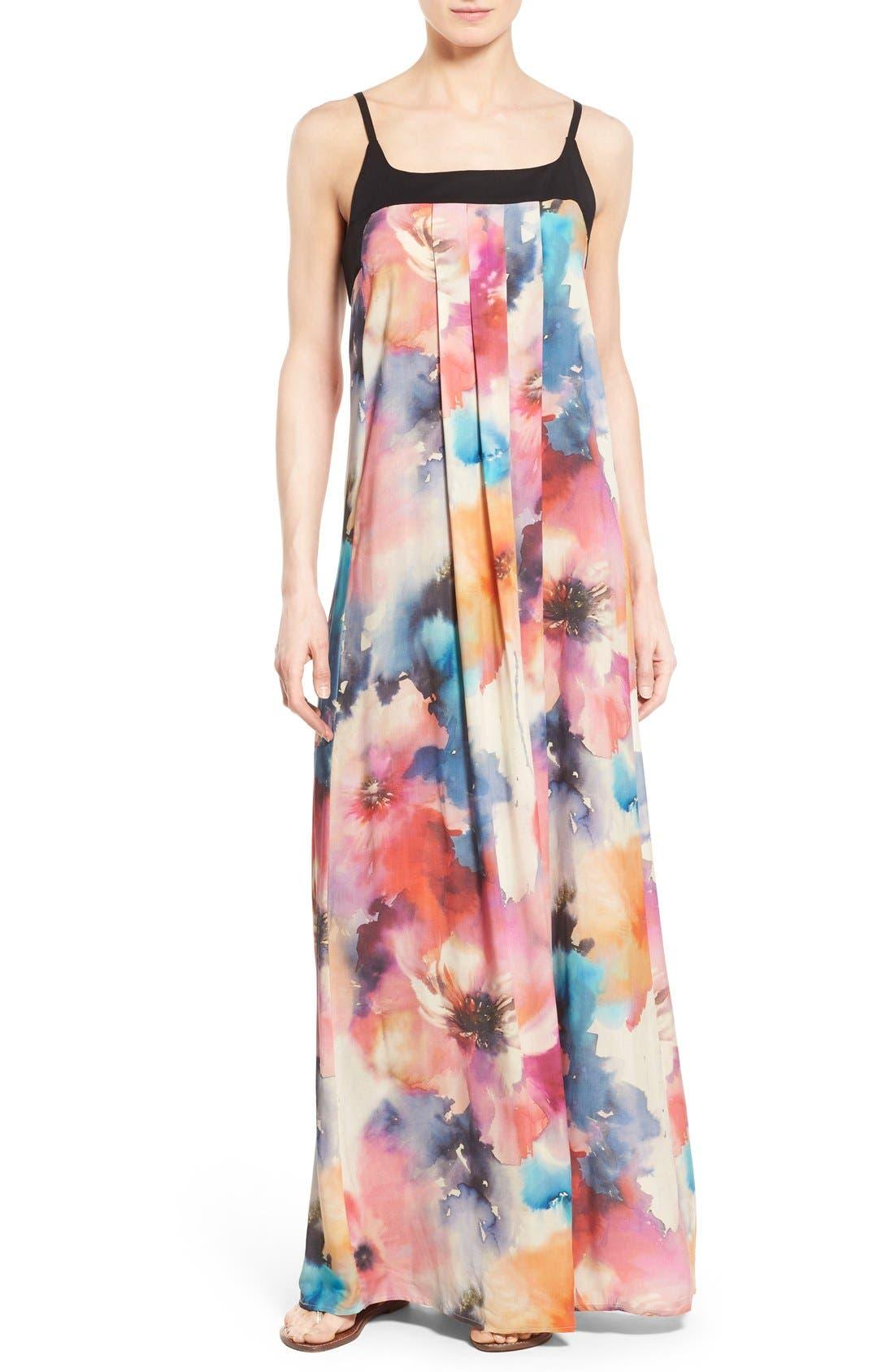 Main Image - Matty M Print Sleeveless Pleat Maxi Dress
