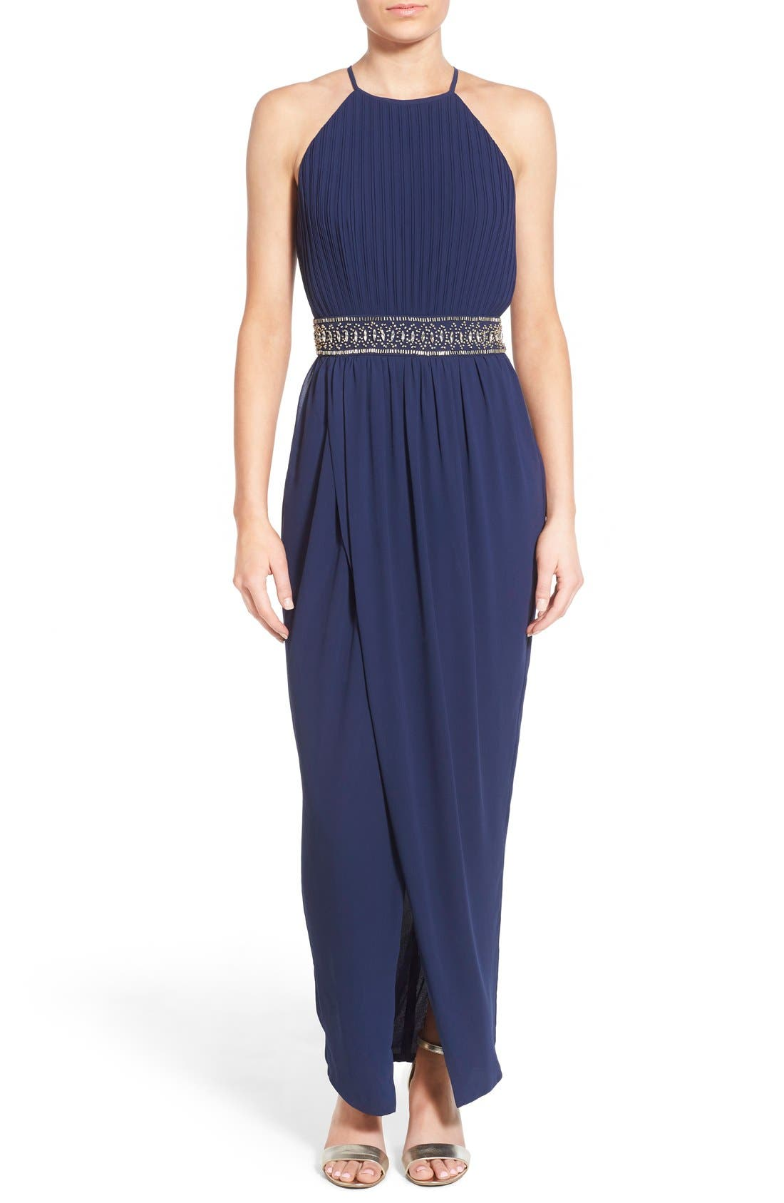 Main Image - TFNC 'Serene' Pleated Maxi Gown