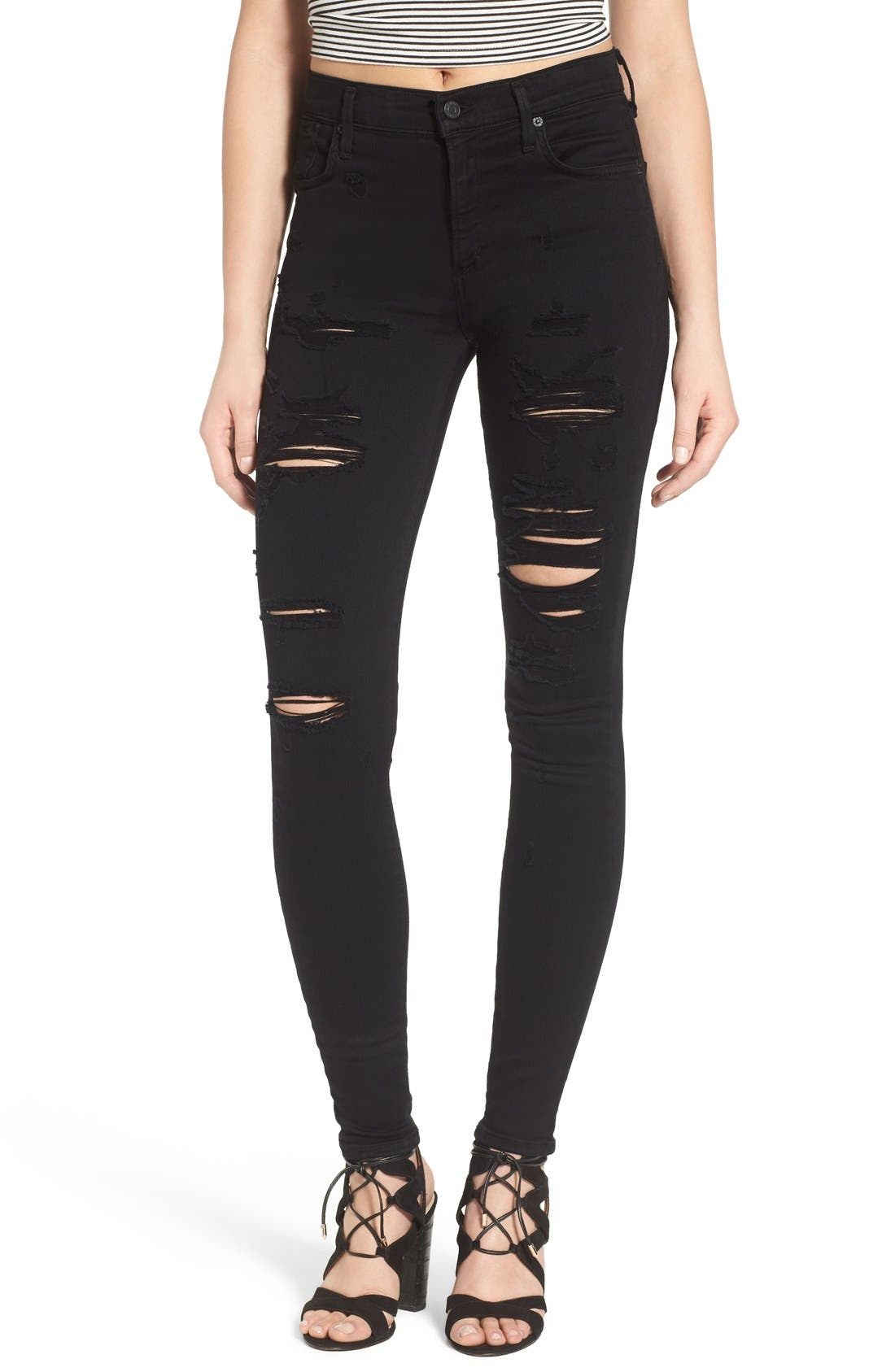 Alternate Image 1 Selected - AGOLDE Sophie High Waist Skinny Jeans (Moon Struck)