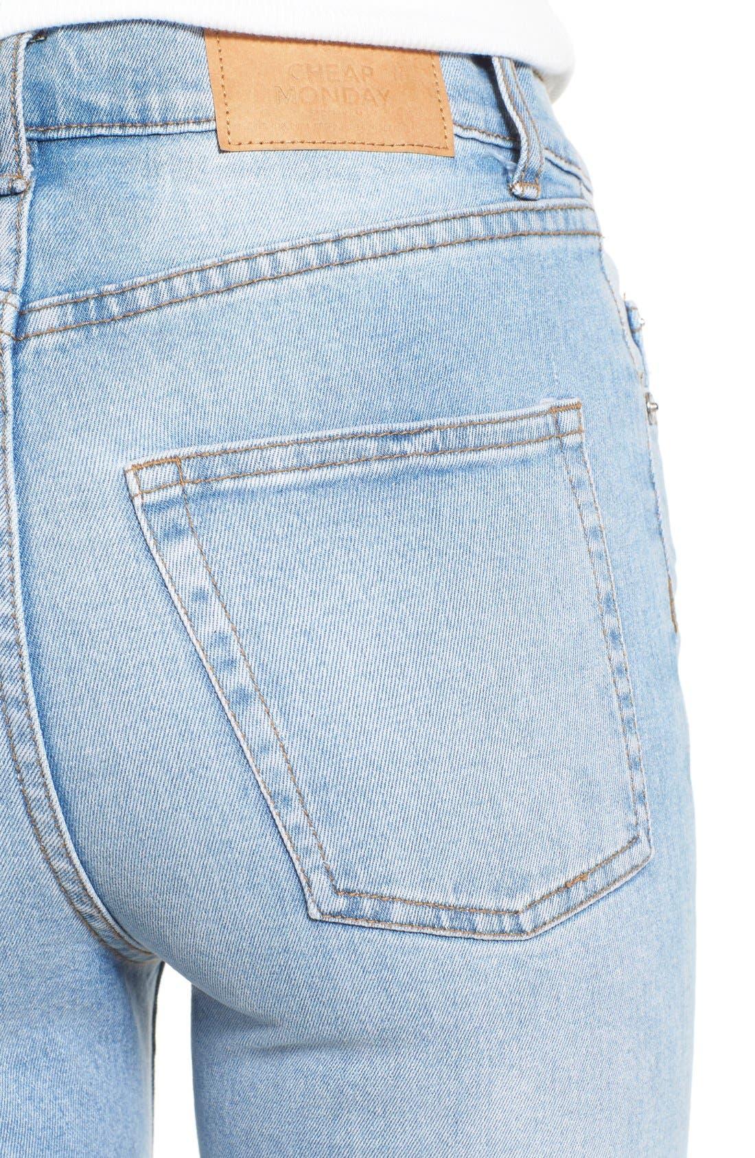 Alternate Image 4  - Cheap Monday 'Second Skin' Skinny Jeans (Stonewash Blue)