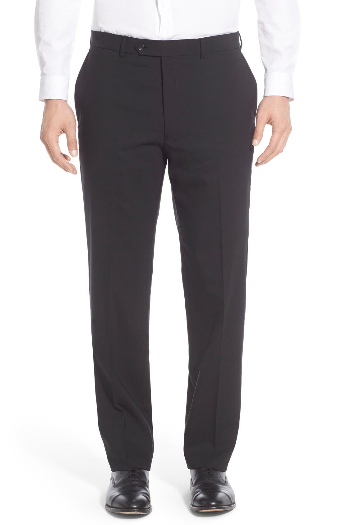 HART SCHAFFNER MARX Flat Front Solid Stretch Wool