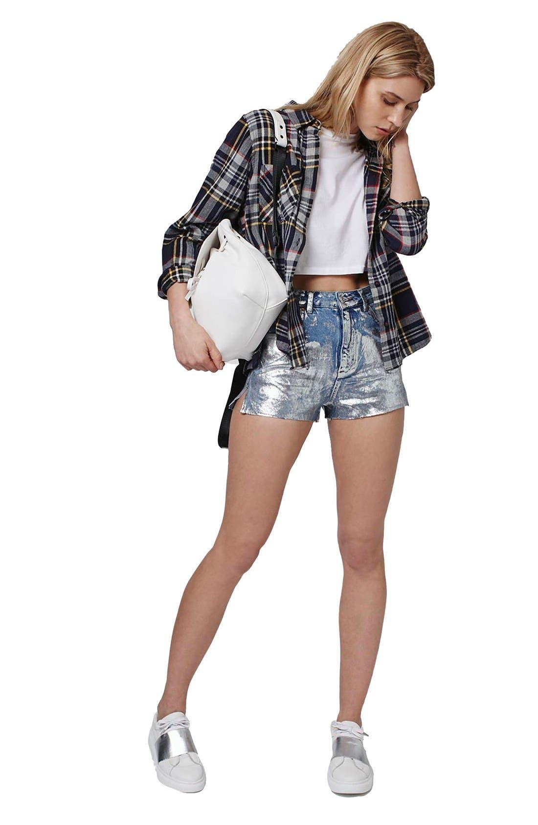 Alternate Image 2  - Topshop Moto Metallic Paint Cutoff Mom Shorts