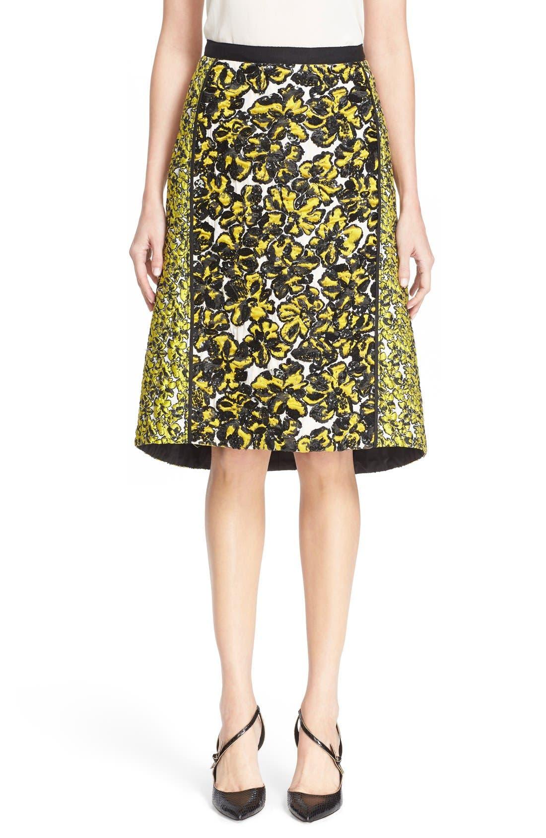 Alternate Image 1  - Oscar de la Renta Embellished Floral Jacquard Skirt