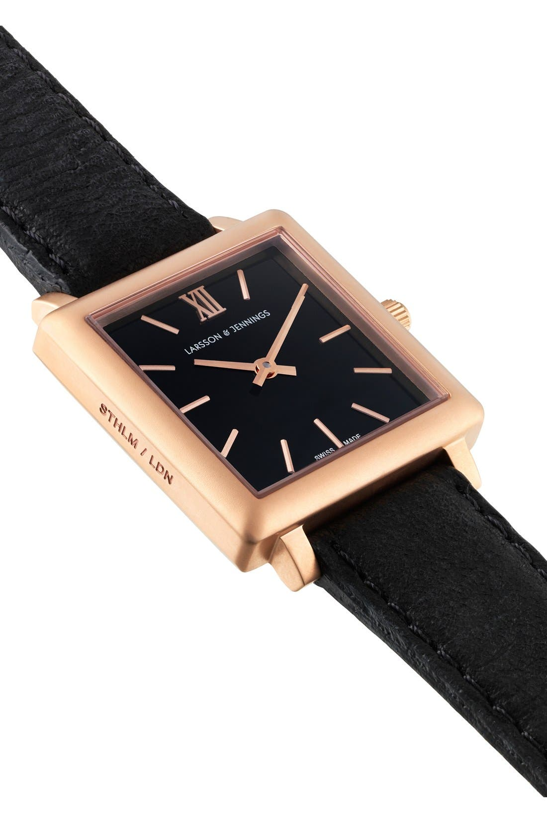 Alternate Image 4  - Larsson & Jennings 'Norse' Square Leather Strap Watch, 27mm x 34mm
