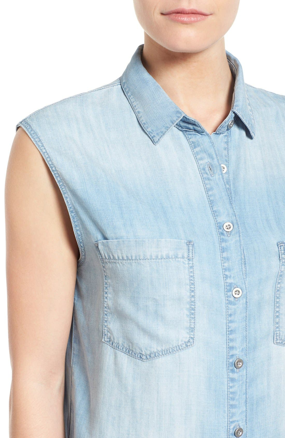 Alternate Image 4  - Mavi Jeans High/Low Lightweight Denim Shirt