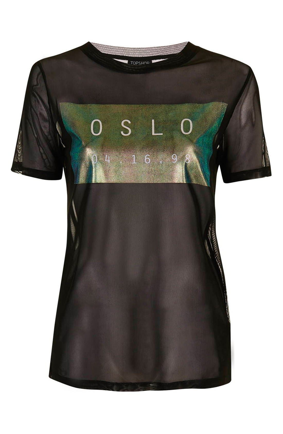 Alternate Image 4  - Topshop 'Oslo' Holographic Sheer Mesh Tee