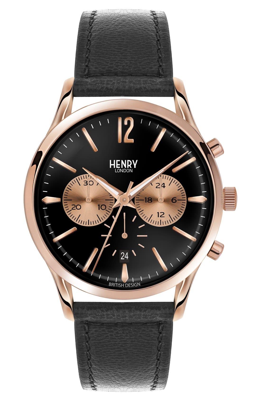 Main Image - Henry London 'Richmond' Chronograph Leather Strap Watch, 41mm