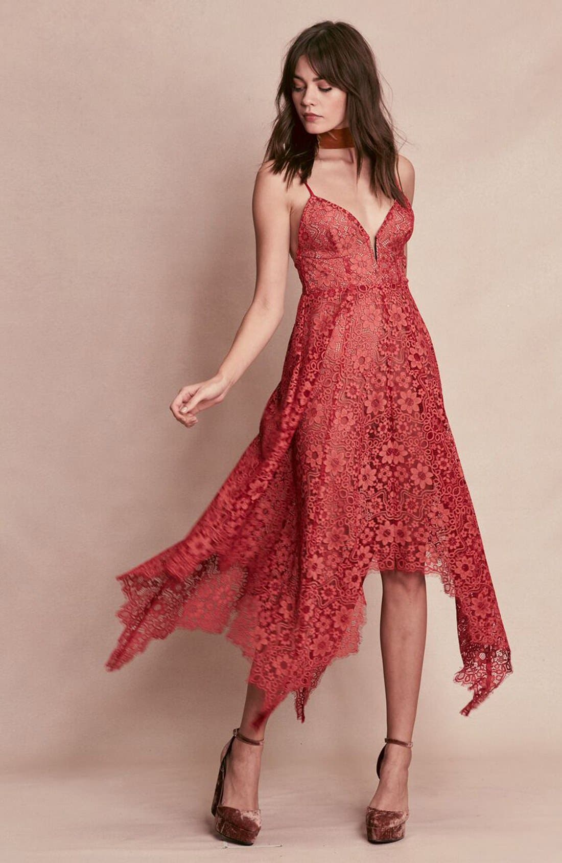 Alternate Image 6  - For Love & Lemons 'Rosemary' Handkerchief Hem Lace Midi Dress
