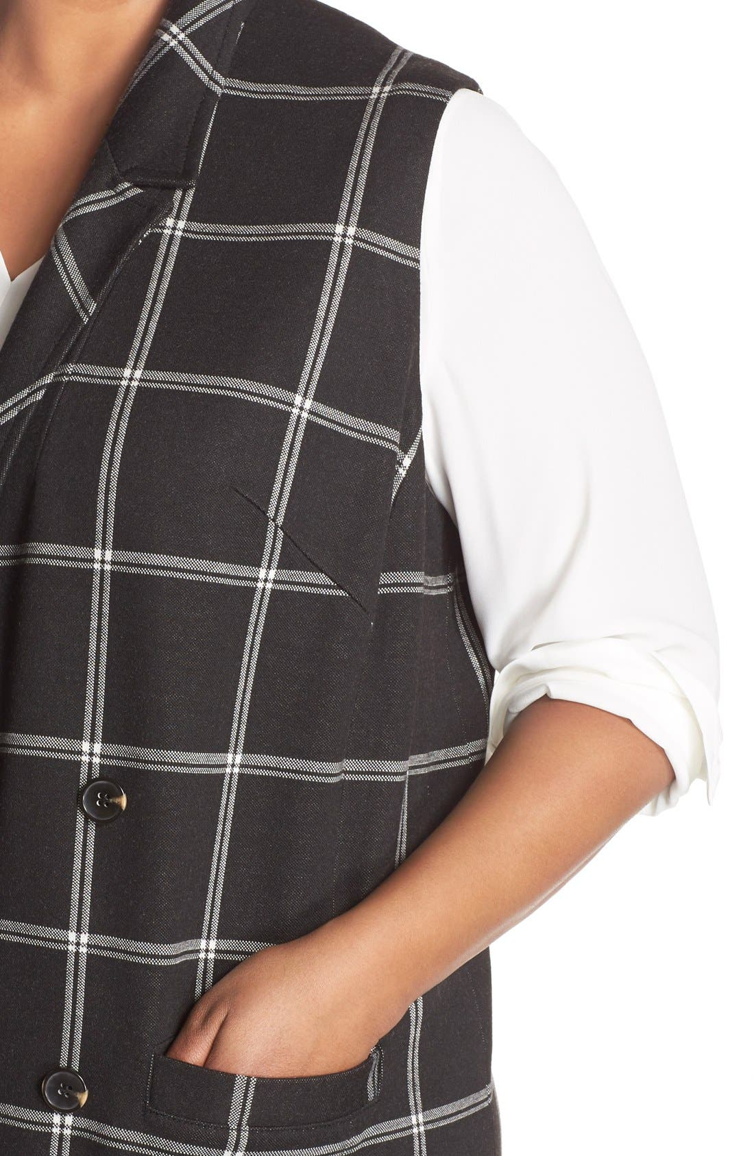 Alternate Image 4  - Halogen® Windowpane Check Long Vest (Plus Size)
