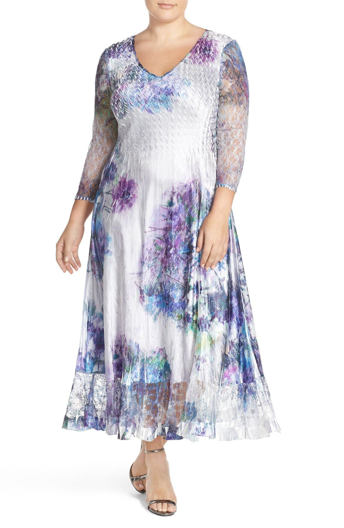 KOMAROV Print Charmeuse & Chiffon A-Line Long Dress