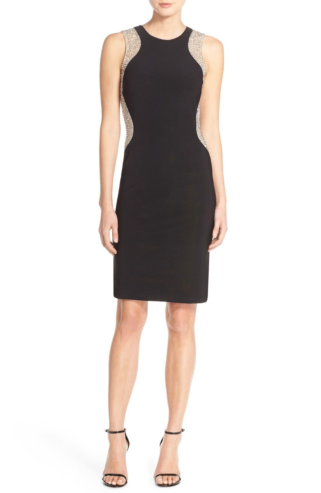 Alternate Image 4  - Xscape Beaded Mesh & Jersey Sheath Dress