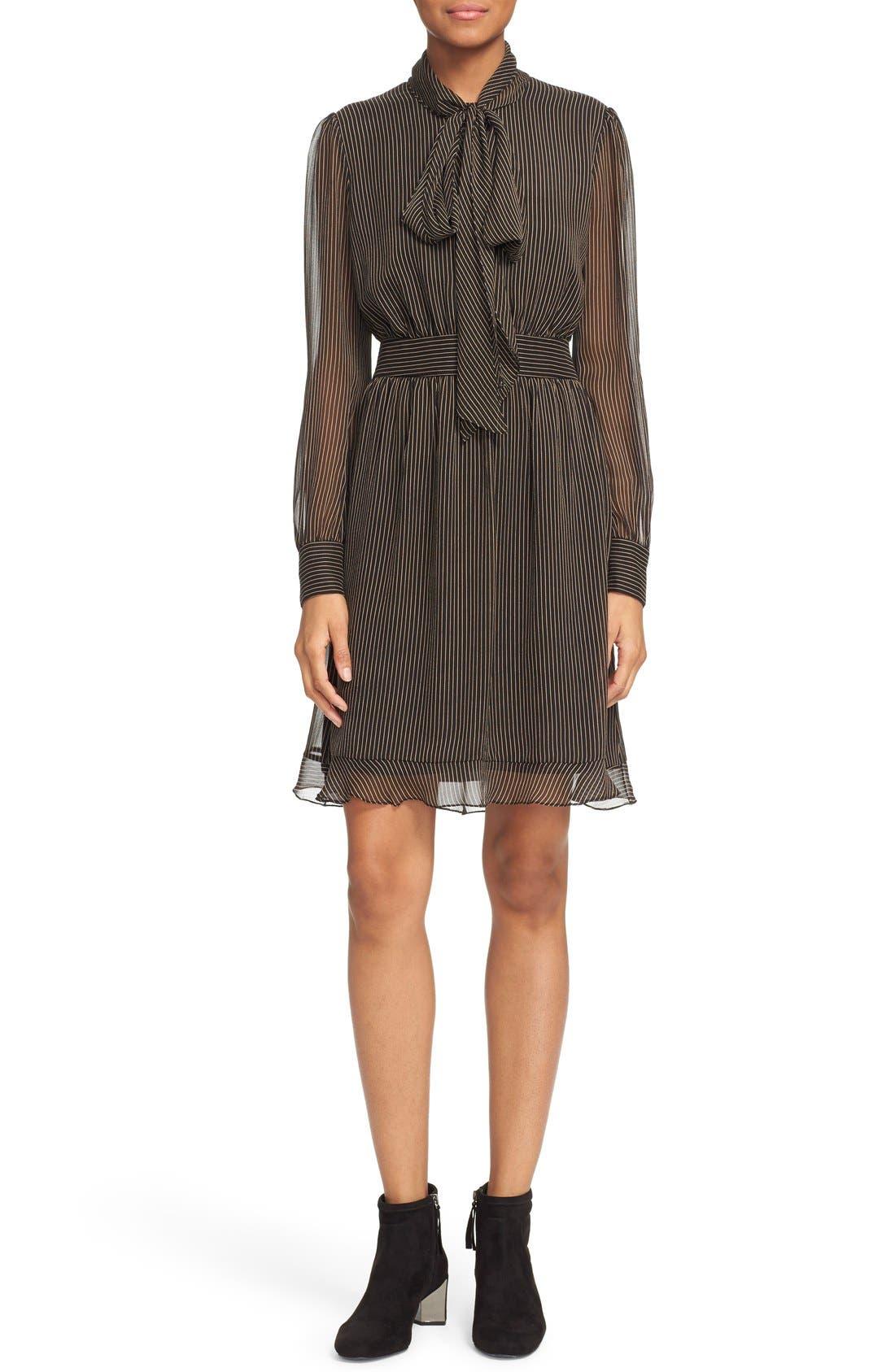 Main Image - Diane von Furstenberg 'Arabella' Pinstripe Silk Dress