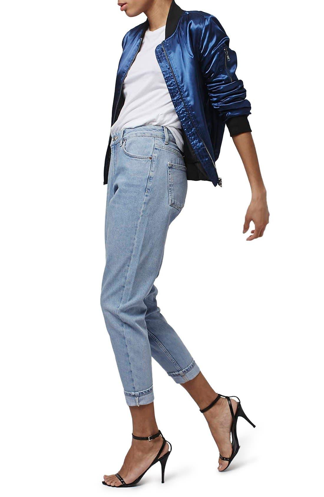 Alternate Image 2  - Topshop Mom Jeans (Lilac) (Petite)