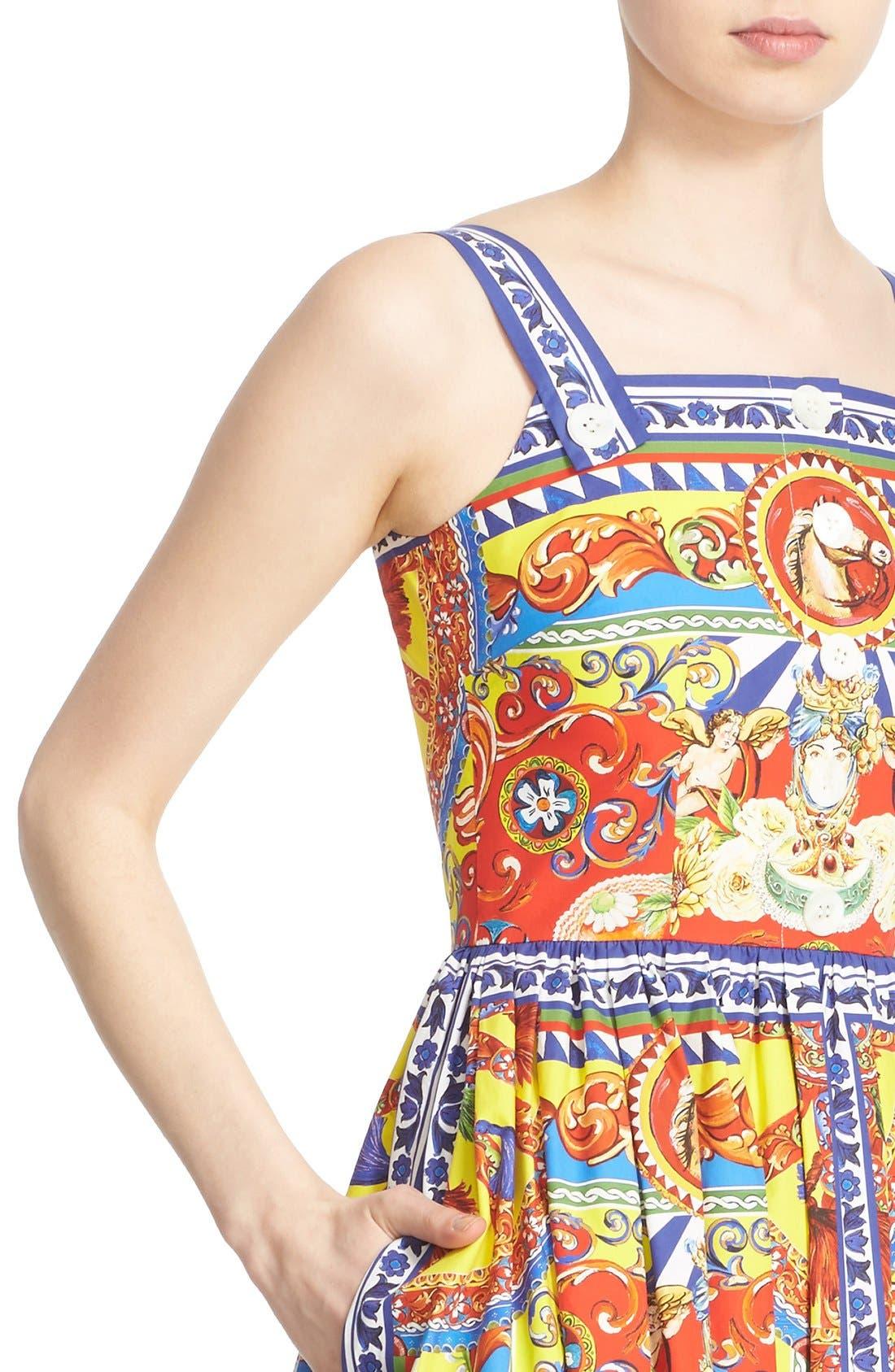 Alternate Image 6  - Dolce&Gabbana Carretto Print Cotton Poplin Dress