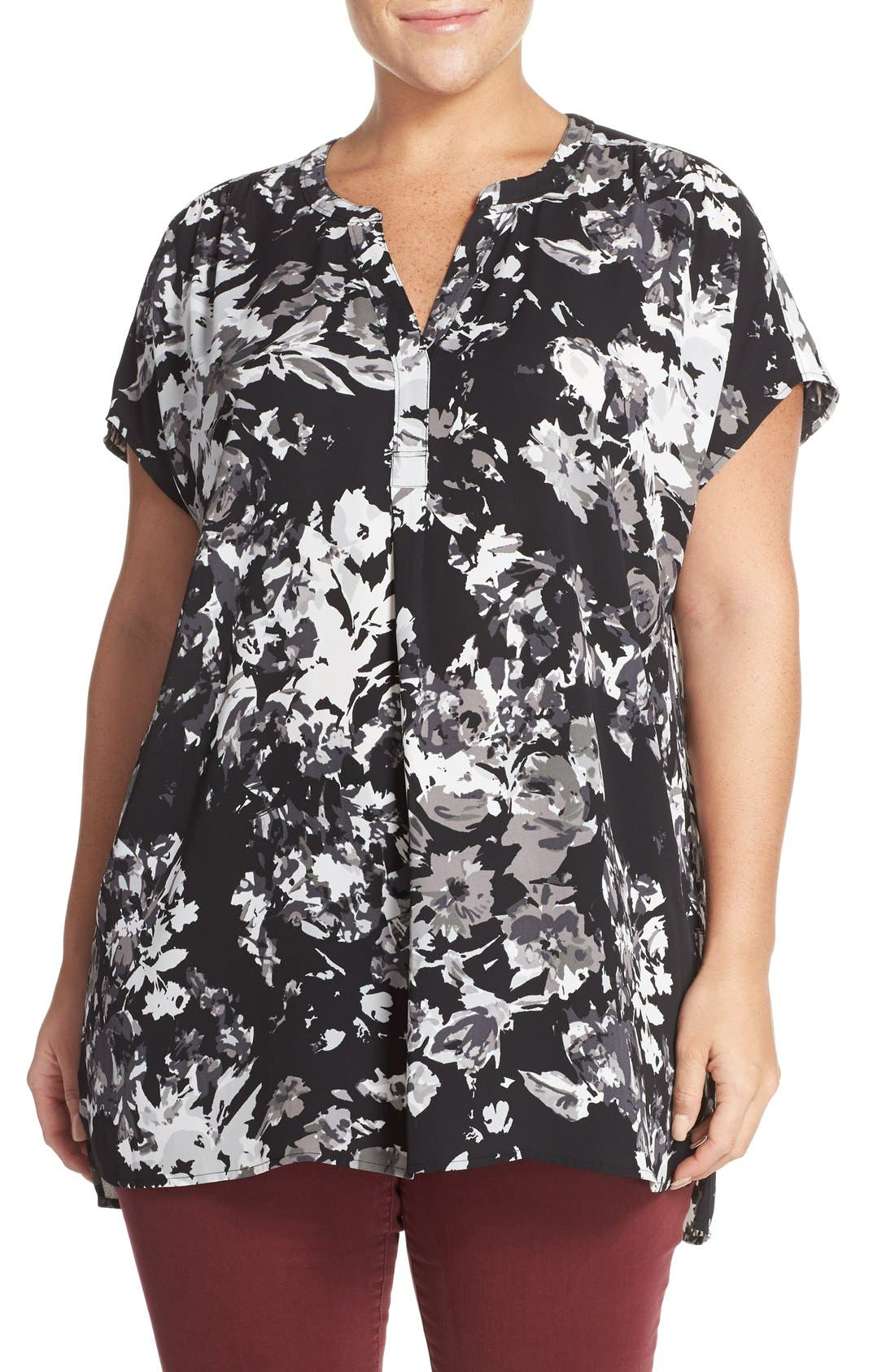 Alternate Image 1 Selected - Sejour Crepe Georgette Henley Tunic (Plus Size)