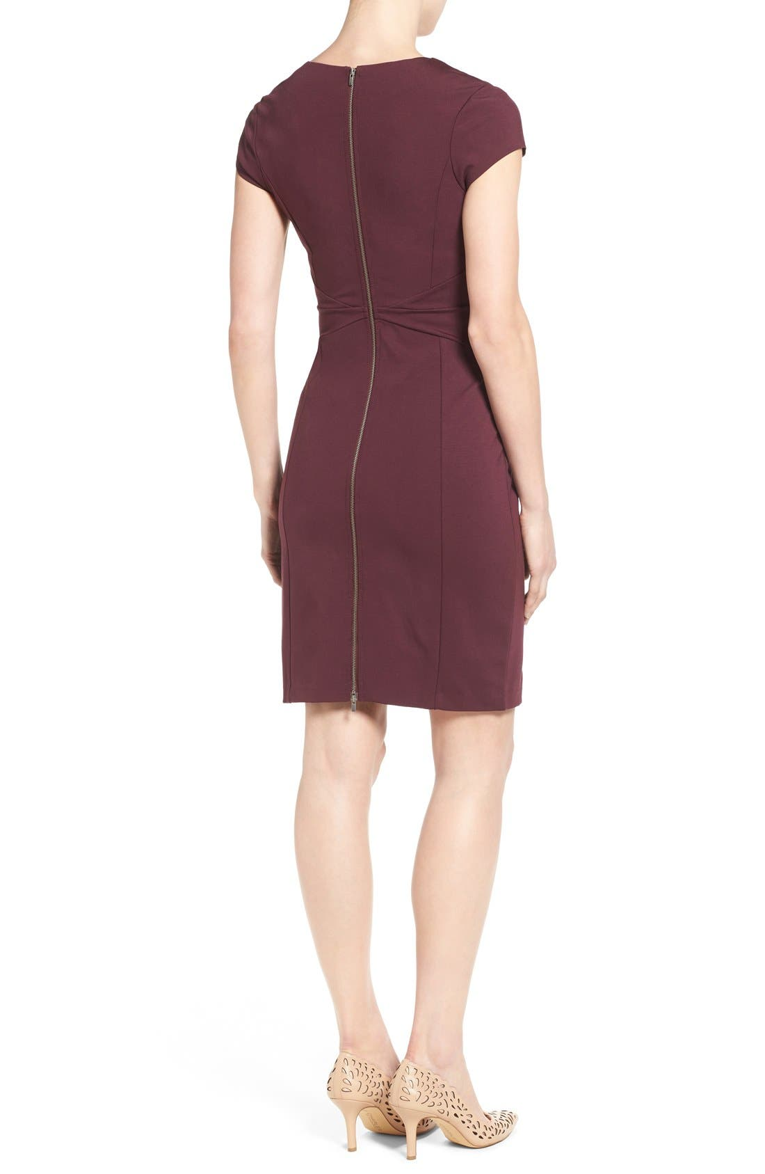 Alternate Image 3  - Halogen® Seamed V-Neck Ponte Sheath Dress (Regular & Petite)