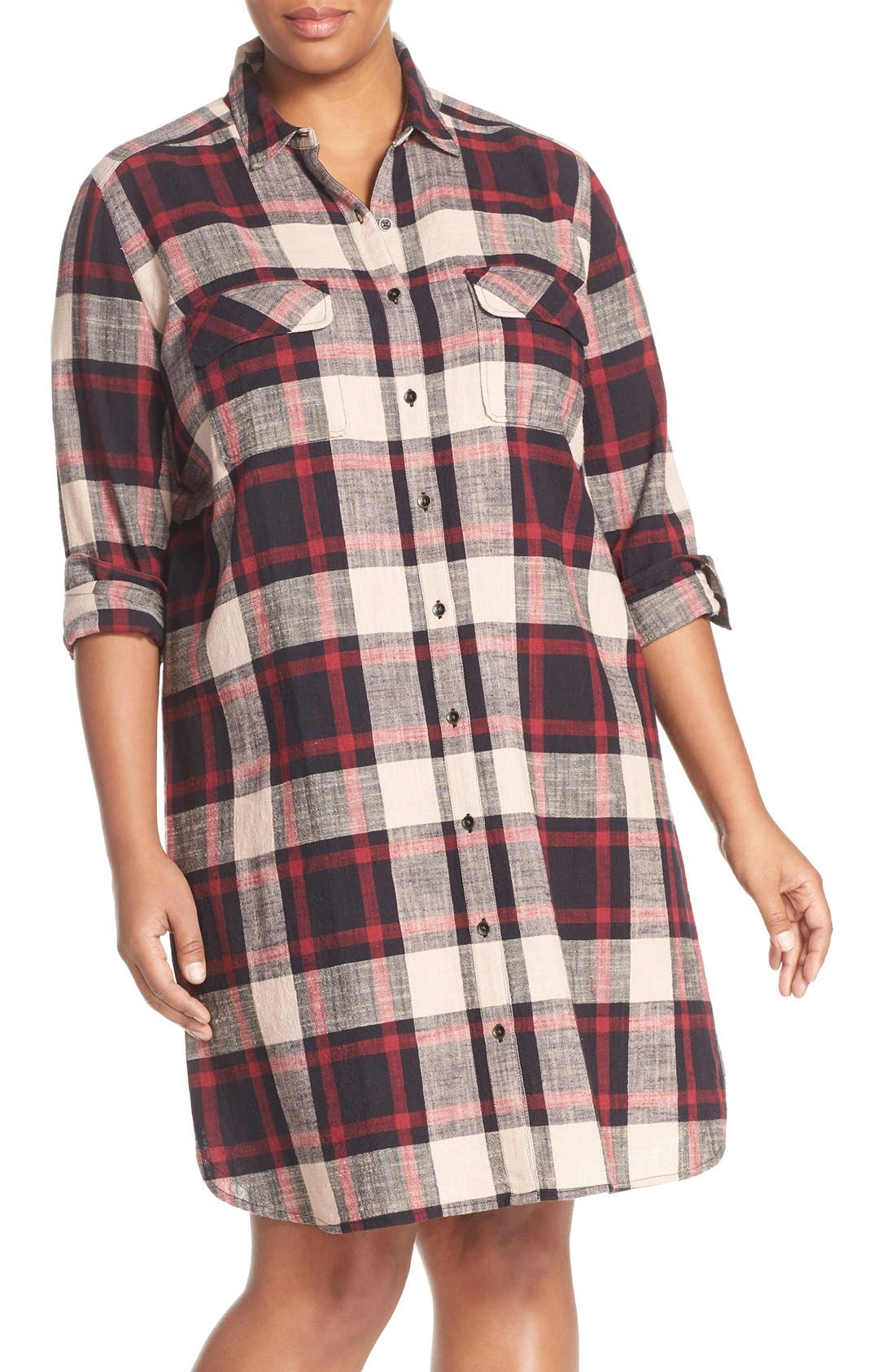 Alternate Image 1 Selected - Caslon® Two-Pocket Plaid Shirtdress (Plus Size)
