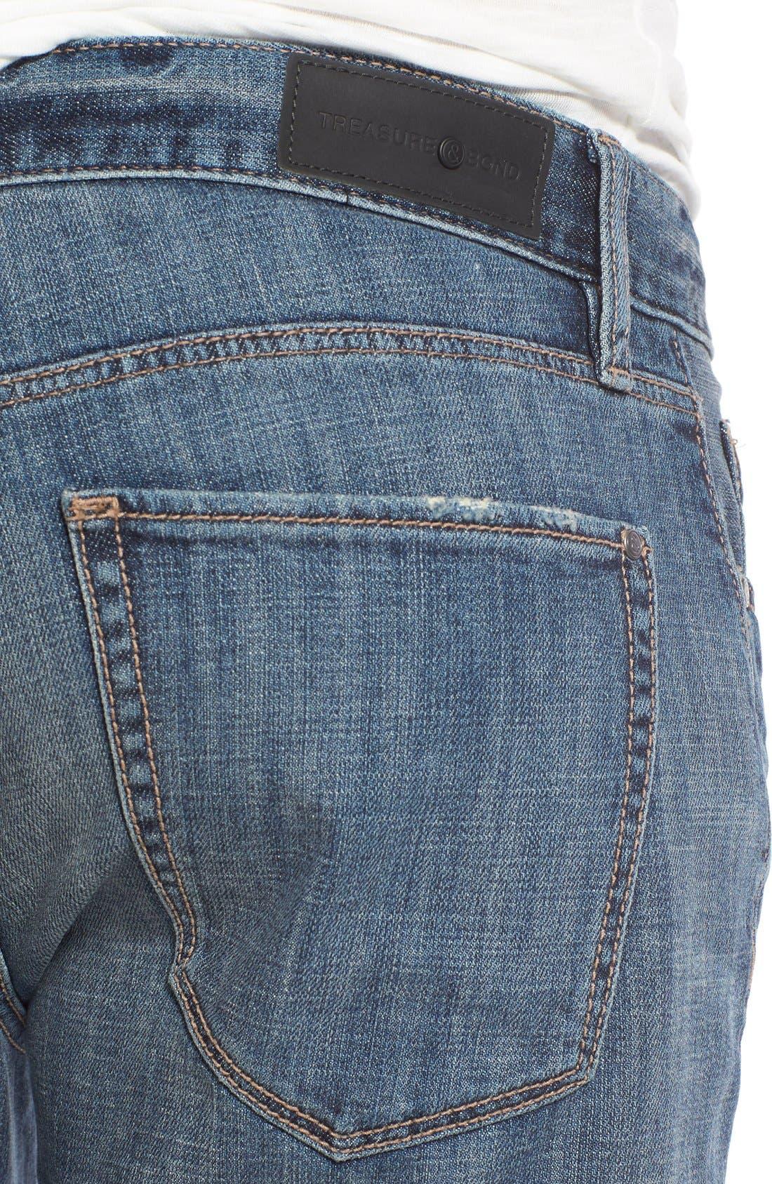 Alternate Image 4  - Treasure&Bond Slim Fit Jeans (Medium Twilight Wash)