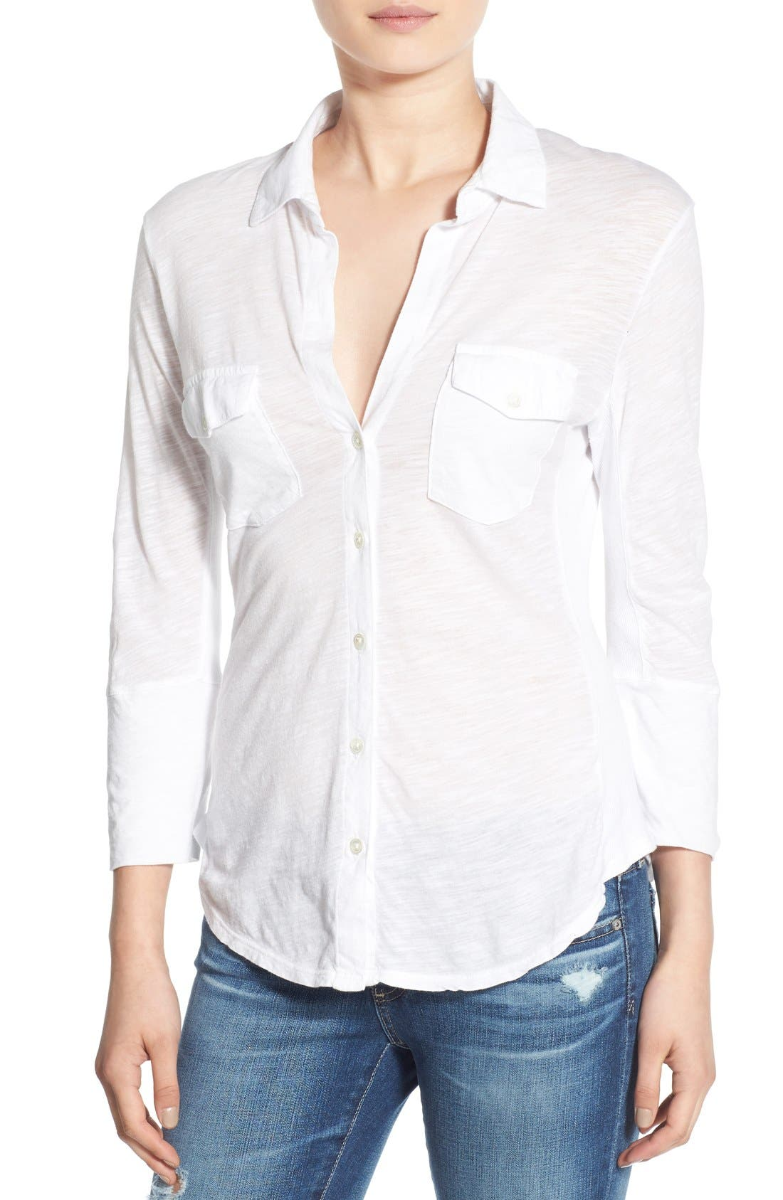 Alternate Image 1 Selected - James Perse Sheer Slub Panel Shirt