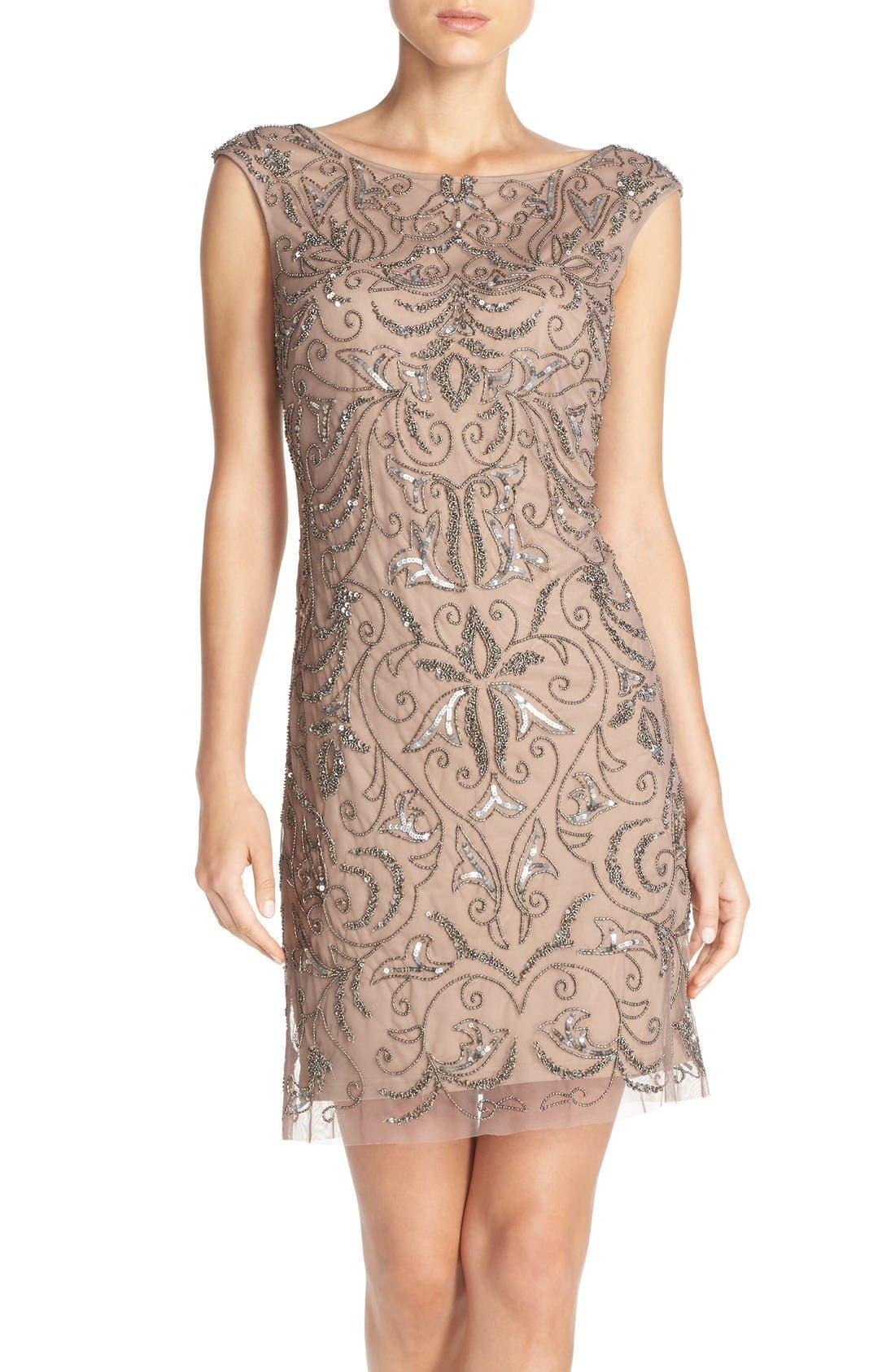 Alternate Image 1 Selected - Adrianna Papell Beaded Mesh Dress (Regular & Petite)