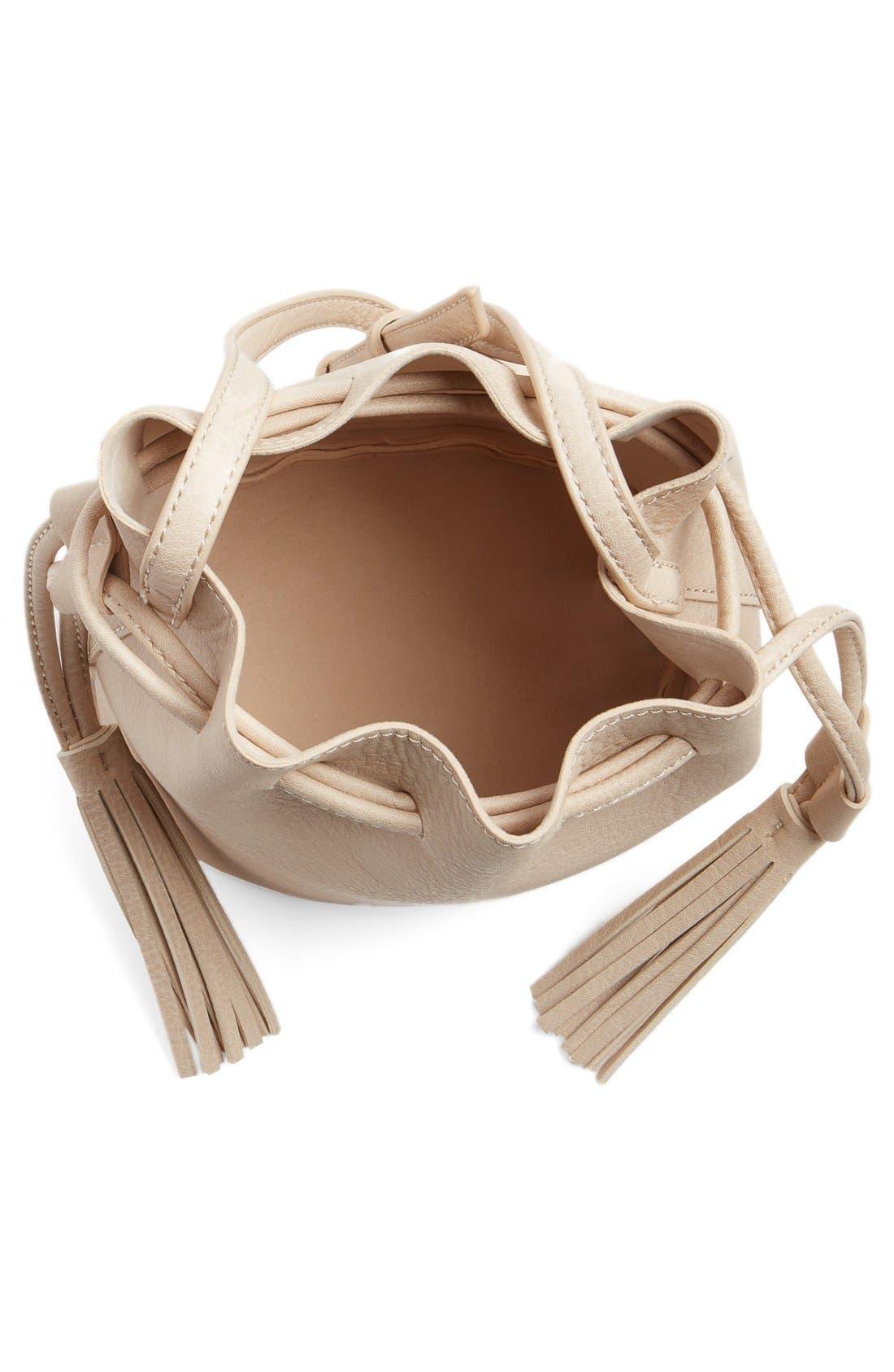 Alternate Image 4  - Street Level Mini Faux Leather Tassel Bucket Bag