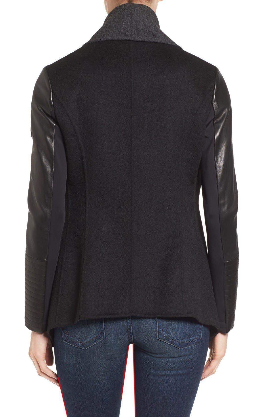 Alternate Image 2  - Rudsak Drape Front Leather Sleeve Jacket