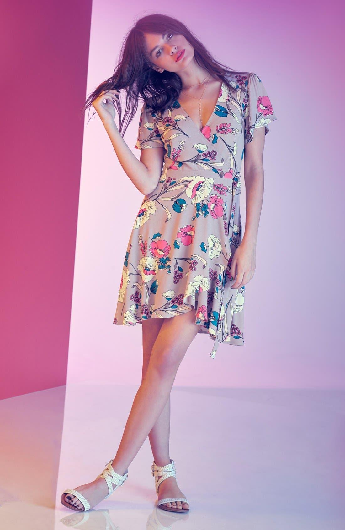 Alternate Image 7  - ASTR Floral Print Wrap Dress