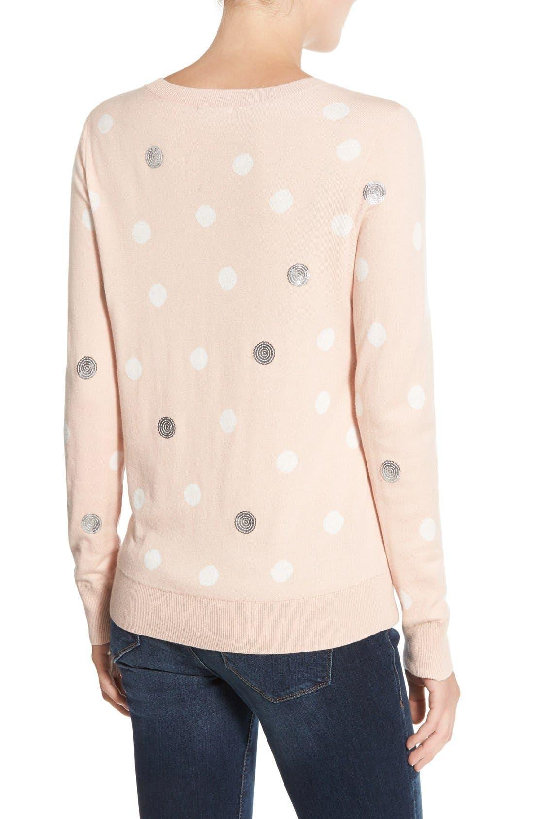 Alternate Image 2  - Halogen® Lace Appliqué Crewneck Sweater (Regular & Petite)