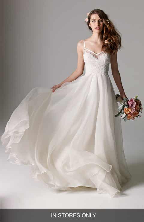 Watters 'Kai' V-Neck Lace   Organza A-Line Gown (In Stores Only)