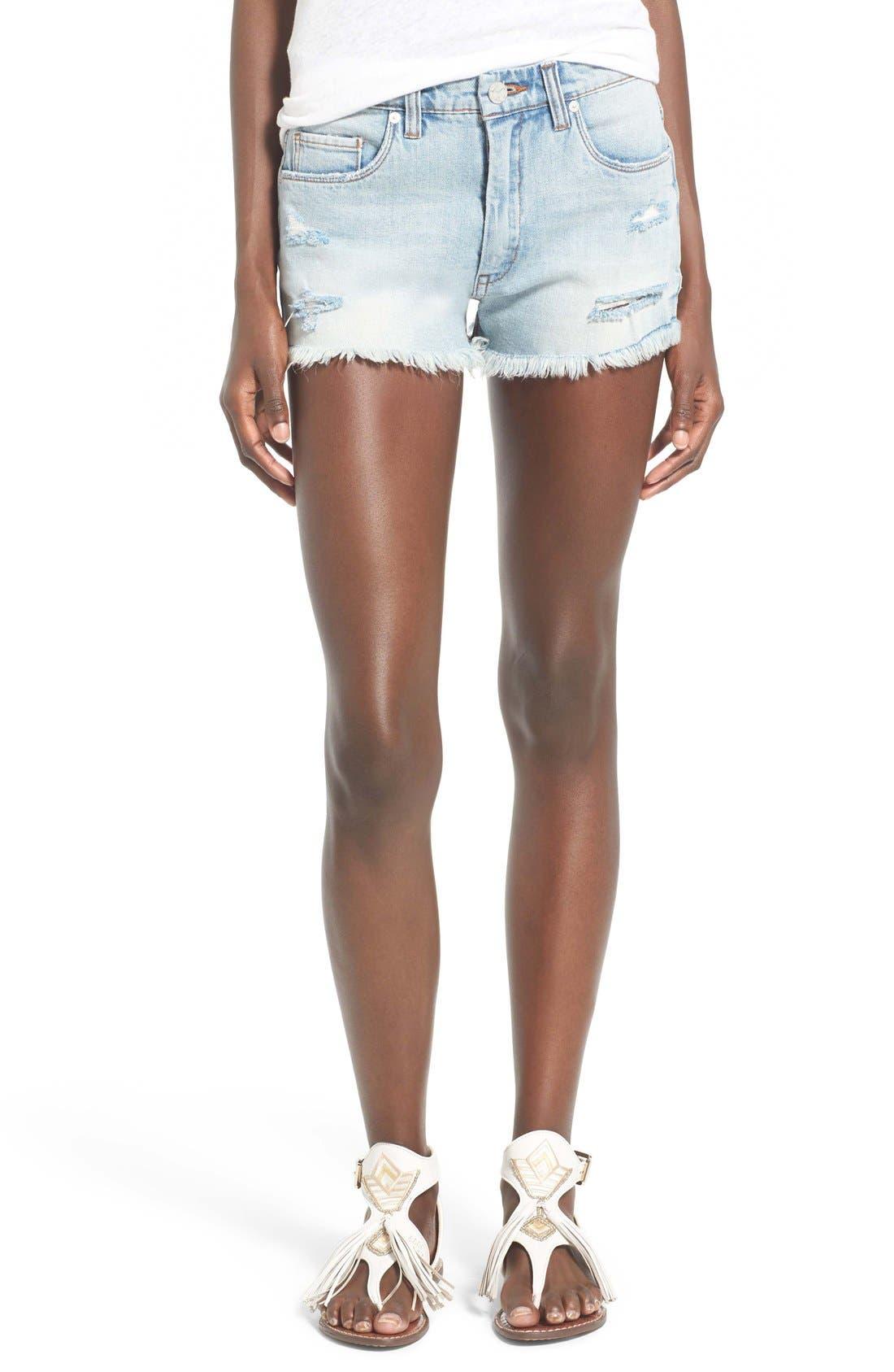 Main Image - BLANKNYC Distressed Cutoff Denim Shorts (Secret Box)