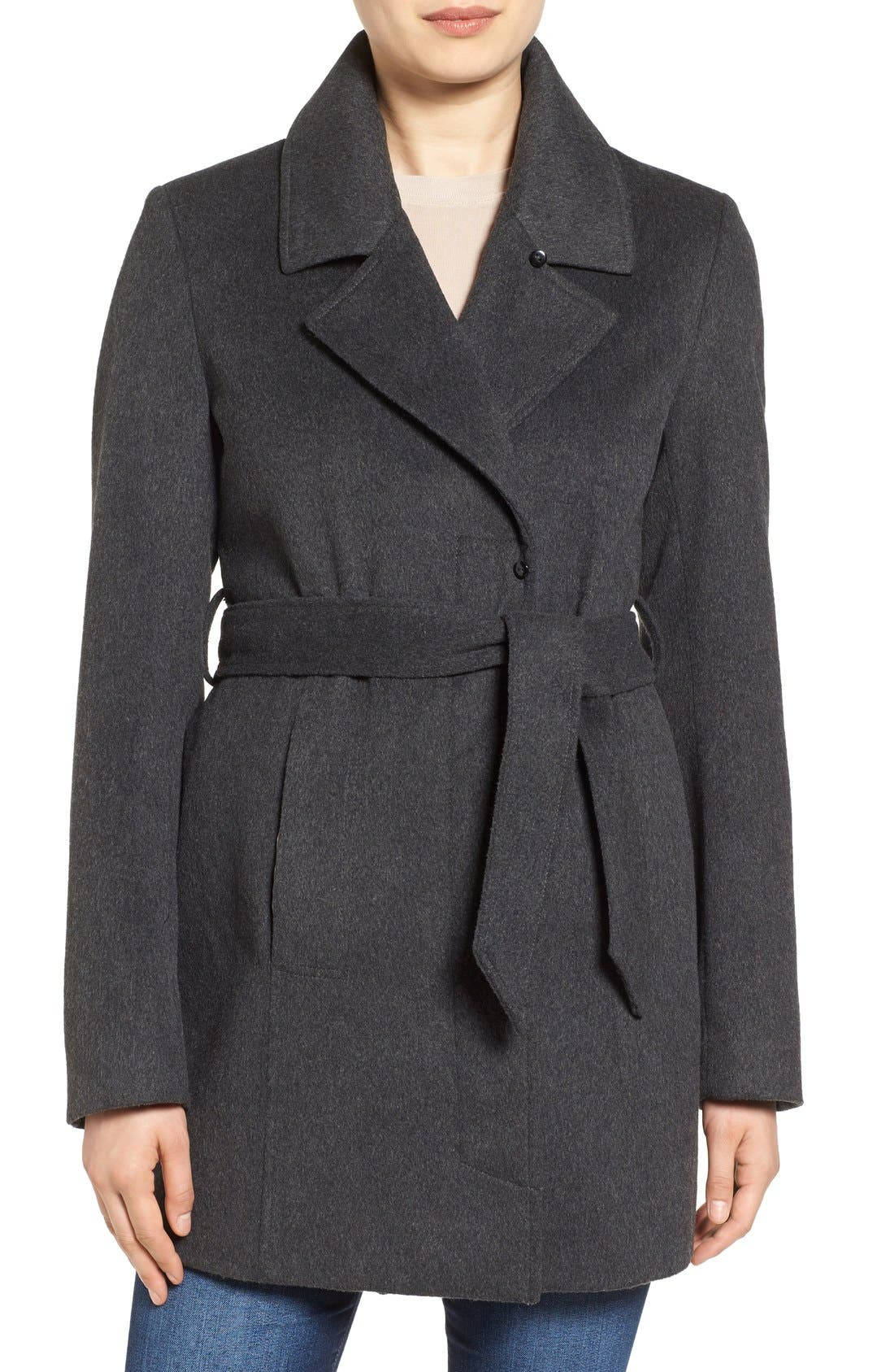 Alternate Image 4  - Sam Edelman Wool Coat with Removable Faux Fur Collar