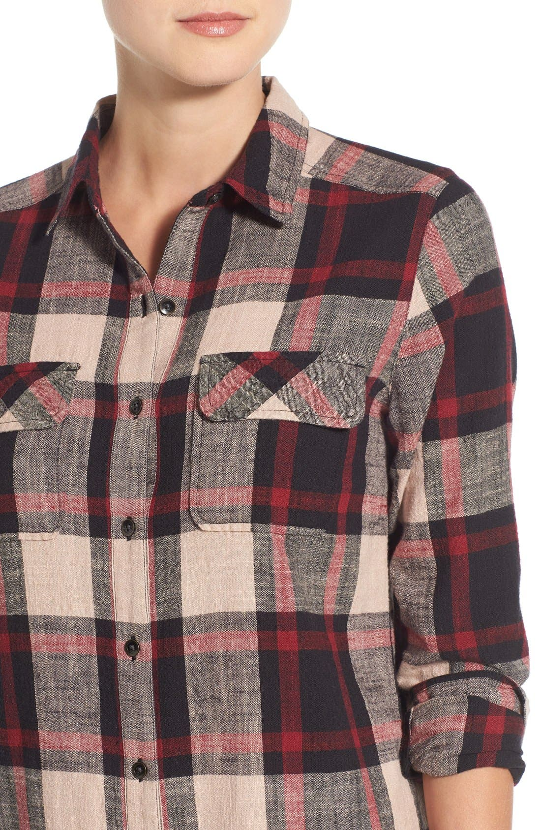Alternate Image 4  - Caslon® Plaid Cotton Two-Pocket Shirtdress (Regular & Petite)