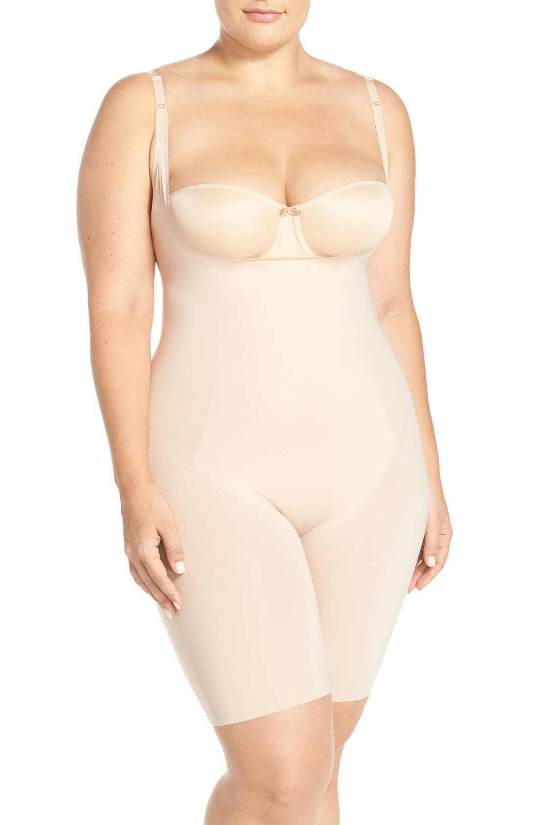 SPANX® Thinstincts Open Bust Mid Thigh Bodysuit (Plus Size)
