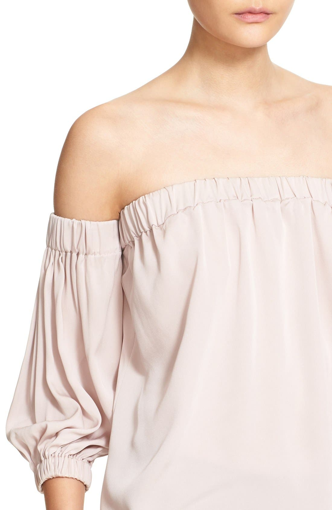 Alternate Image 4  - Milly Stretch Silk Off the Shoulder Blouse