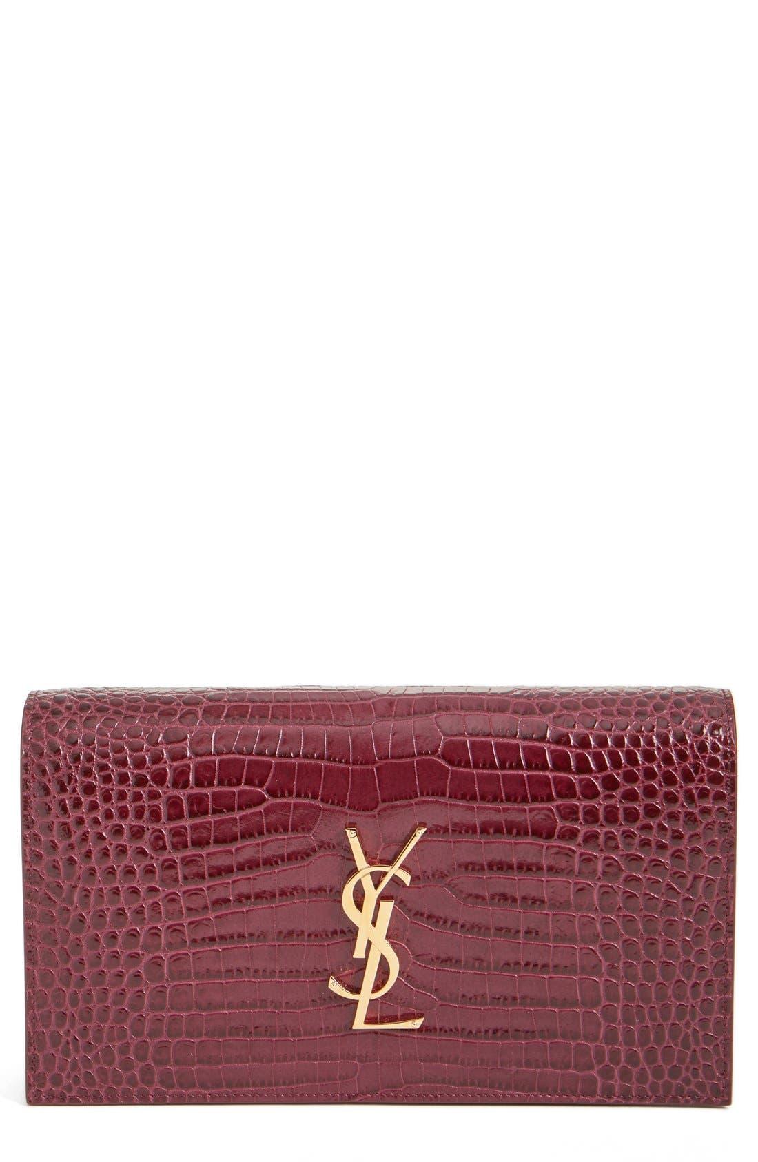 Main Image - Saint Laurent 'Kate' Croc Embossed Calfskin Leather Clutch