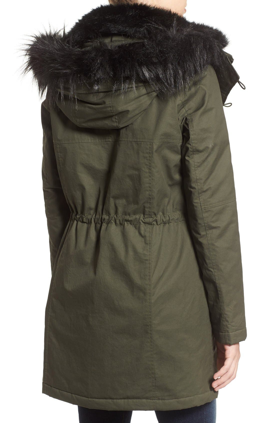Alternate Image 2  - French Connection Hooded Parka With Faux Fur Trim