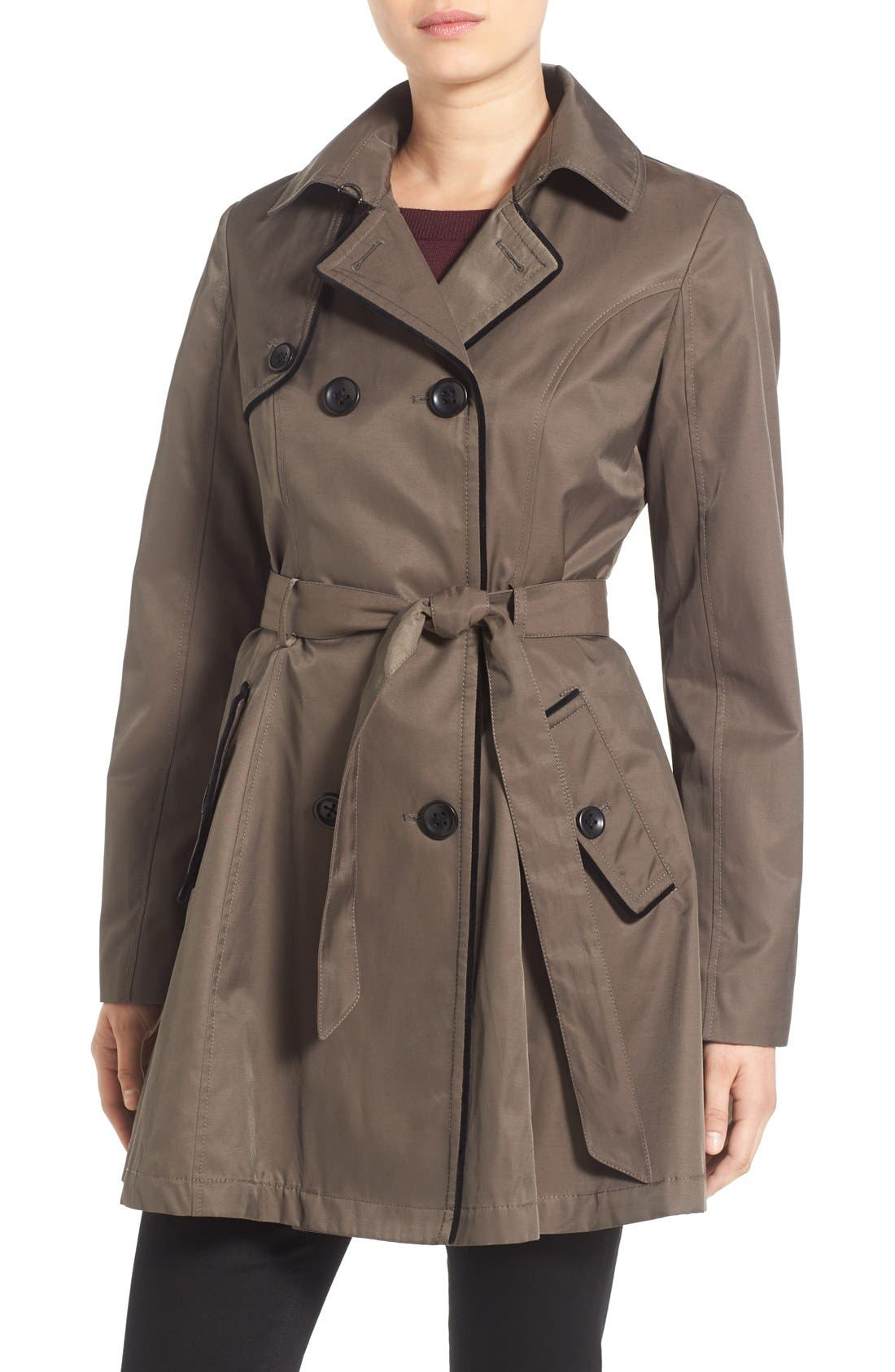 Main Image - Betsey Johnson Corset Back Trench Coat
