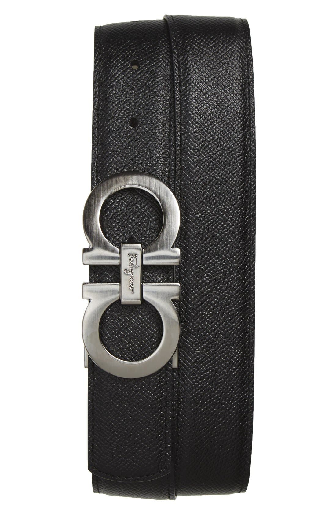 Salvatore Ferragamo Reversible Double Gancini Calfskin Leather Belt