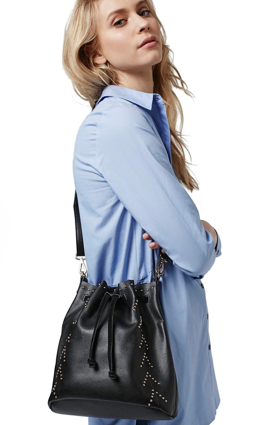 Alternate Image 2  - Topshop Drawstring Faux Leather Bucket Bag