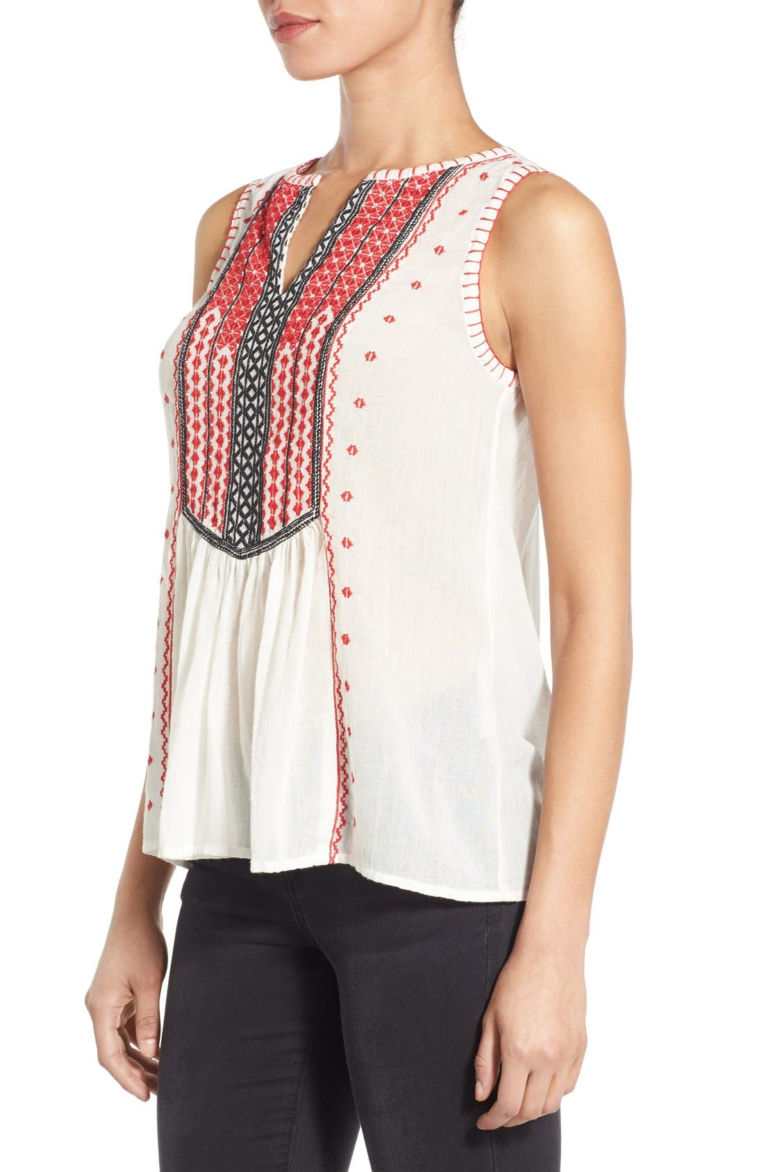 Alternate Image 3  - Lucky Brand Embroidered Bib Cotton Tank