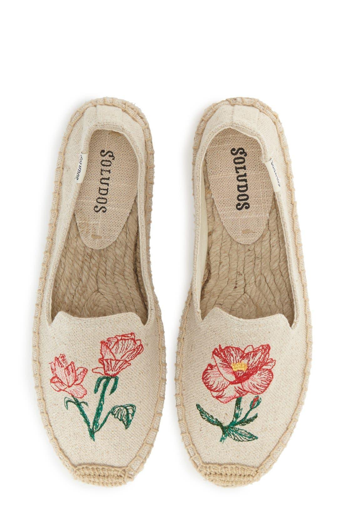 Alternate Image 1 Selected - Soludos Floral Embroidered Espadrille Slip-On (Women)